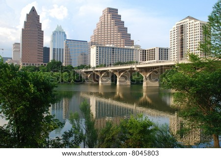 City of Austin cityscape with Congress Bridge - stock photo