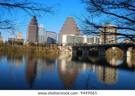 City of Austin downtown district reflecting on beautiful Lady Bird Lake, formerly Town Lake - stock photo