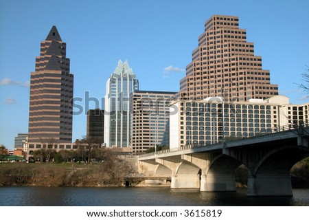 City of Austin, Texas downtown highrise buildings - stock photo