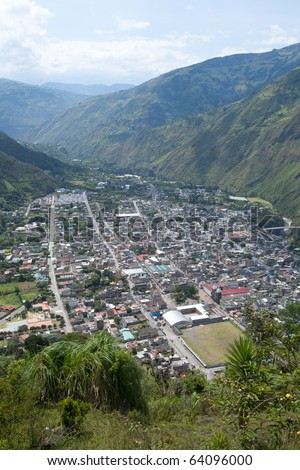 City of Banos, Ecuador. View from the Belavista observation point. - stock photo
