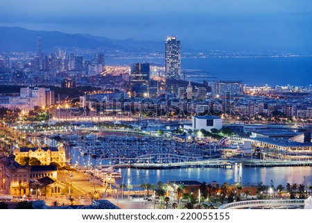 City of Barcelona at night in Catalonia, Spain.