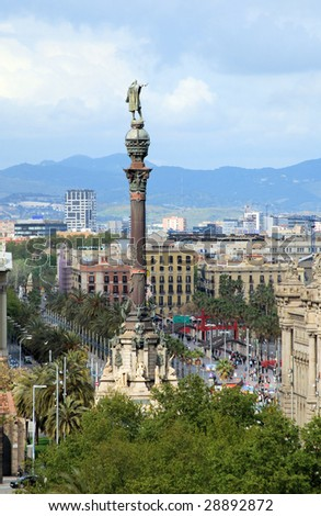 city of barcelona from above,  monument to christopher columbus, spain - stock photo