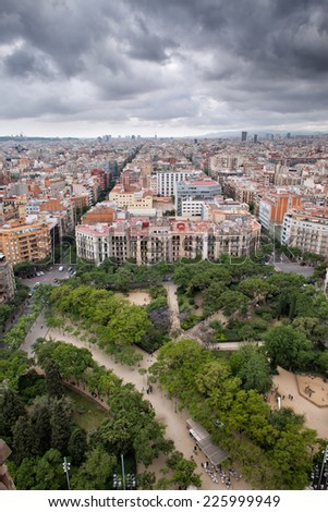 City of Barcelona in Catalonia, Spain. View from above, Placa de la Sagrada Familia on the first plan. - stock photo