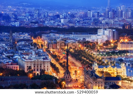 City of Barcelona in Spain at blue hour, city centre twilight cityscape