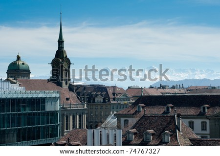 City of bern with view of eiger monch jungfrau