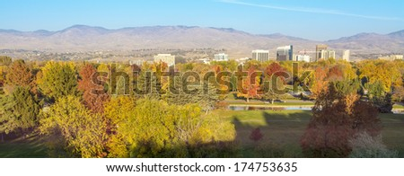 City of Boise Idaho with fall trees in a park - stock photo