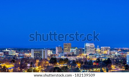 City of Boise in the early morning before sunrise - stock photo