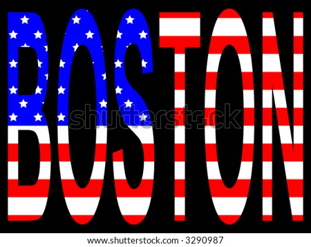 City of Boston and American flag illustration - stock photo