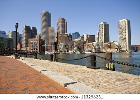 City of Boston. Image of Boston city skyline at sunny day. - stock photo