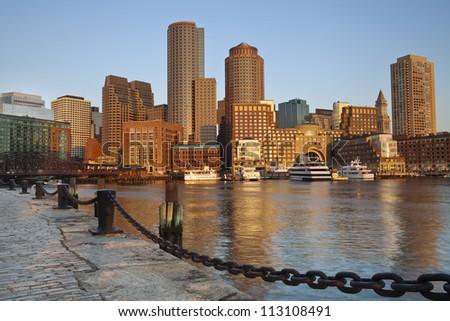 City of Boston. Image of Boston city skyline at sunrise. - stock photo