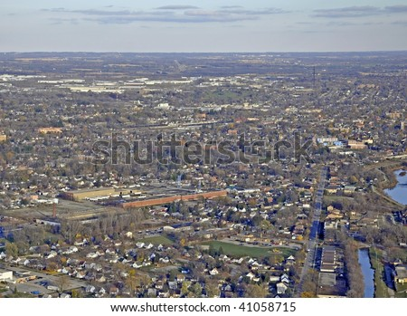 city of Brantford Ontario,  Autumn aerial view