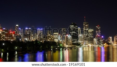 City of Brisbane  Austarlia by night at the river - stock photo