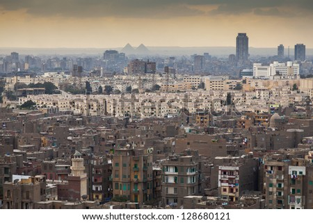 City of Cairo by sunset - stock photo