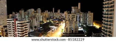 City of Cartagena Colombia at night - stock photo
