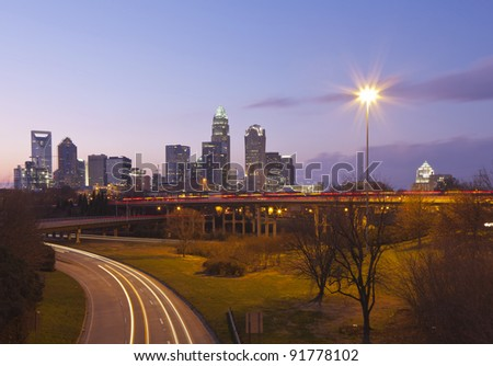 City of Charlotte, NC at dusk - stock photo