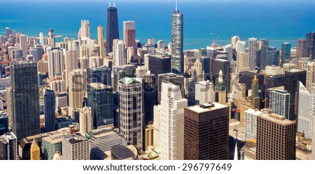 City of Chicago. Aerial view of Chicago downtown - stock photo