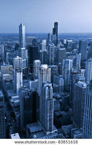 City of Chicago. Aerial view  of Chicago downtown at twilight from high above. - stock photo