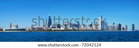 City of Chicago against blue sky - stock photo