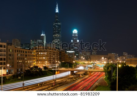 City of Chicago. Busy traffic at I290 highway heading to the city. - stock photo