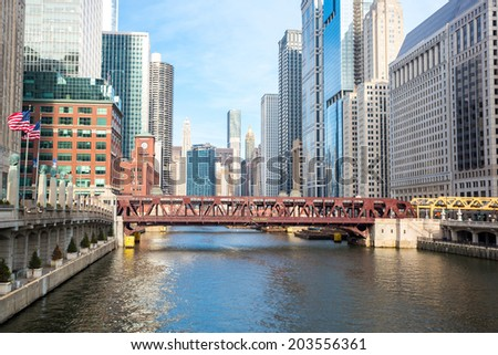 City of Chicago downtown and River with bridges - stock photo