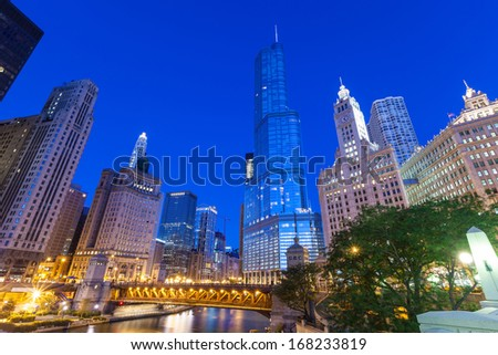 City of Chicago. Image of Chicago downtown and Chicago River with bridges at twilight. - stock photo