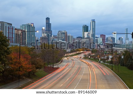 City of Chicago. Image of modern dynamic city of Chicago at twilight.