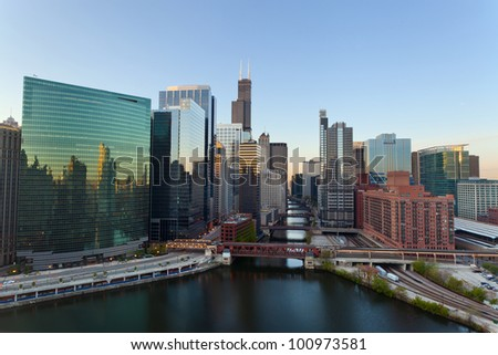 City of Chicago. Image of the Chicago downtown district at sunrise. - stock photo