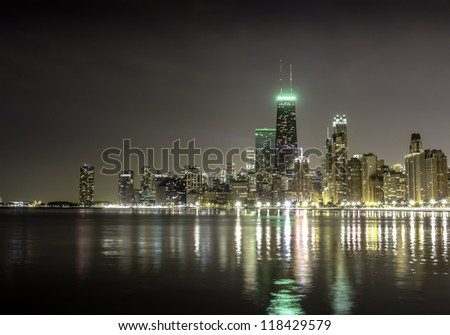 City of Chicago skyline (night view) - stock photo