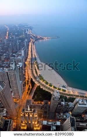 City of Chicago. View  of Chicago lake shore drive and Michigan Avenue at twilight from high above. - stock photo