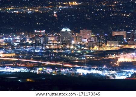 City of Colorado Springs Skyline at Night - Downtown Colorado Springs, Colorado, United States. - stock photo