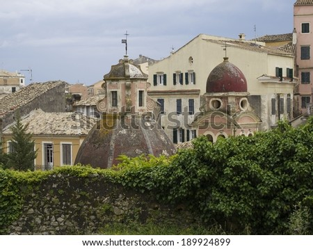 City of Corfu Town on Corfu Island Greece with the old church on a cloudy spring day