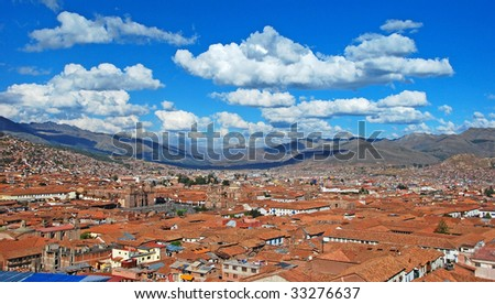 city of Cuzco rooftop view - stock photo
