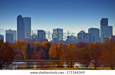 City of Denver Skyline. City Park Landscape. Capital of the U.S. State of Colorado. American Cities Photo Collection. - stock photo