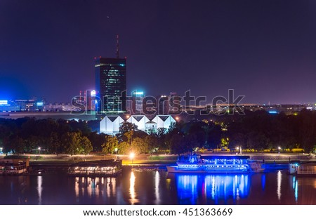 City of Europa: Belgrade cityscape at the night, Serbia