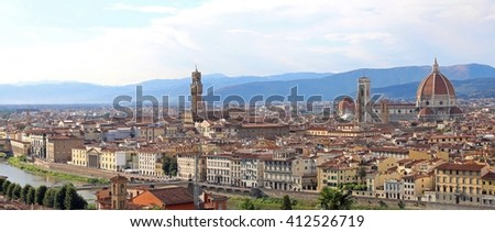 city of Florence in Italy with the Cathedral and the old buildings