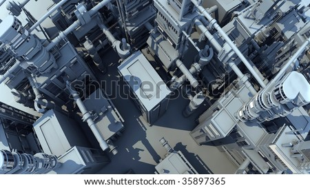 city of future, top view, footage  available also - stock photo