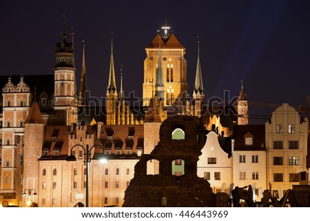 City of Gdansk by night in Poland, Old Town skyline and cityscape - stock photo