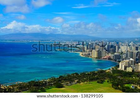 City of Honolulu Hawaii - stock photo