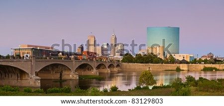 City of Indianapolis Panoramic image of Indianapolis skyline at sunset. - stock photo