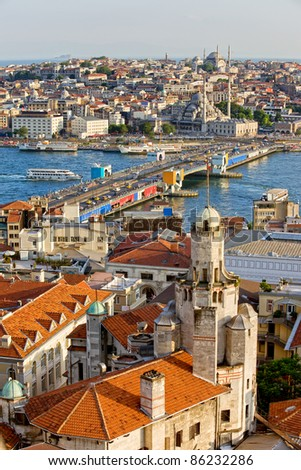 City of Istanbul in Turkey, view from the Beyoglu district over the Golden Horn, Galata bridge and Eminonu district - stock photo