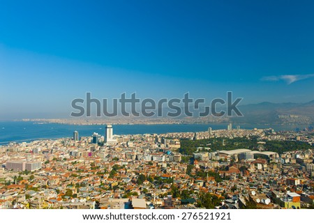City of Izmir seen from the hill above, Turkey - stock photo