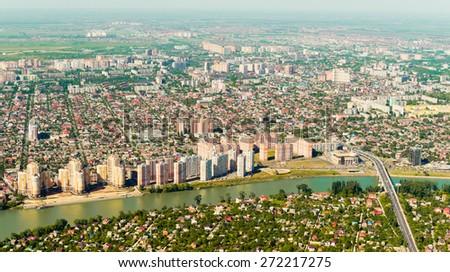 City of Krasnodar, top view - stock photo