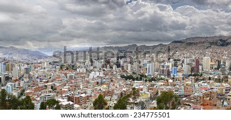 """City of La Paz with the Andes in the background from the viewpoint """" Mirador"""" - stock photo"""