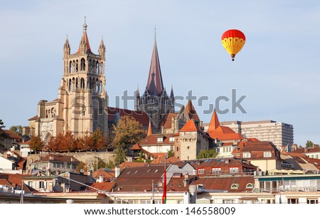 City of Lausanne in the west of Switzerland - stock photo