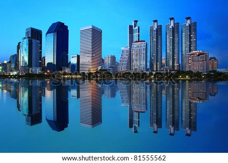 City of light to the evening sky - stock photo