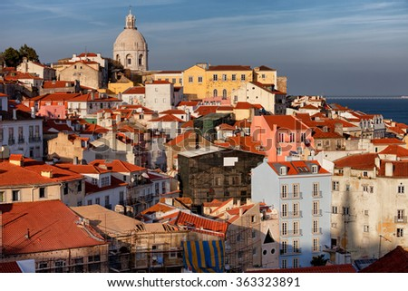 City of Lisbon cityscape and skyline at sunset in Portugal