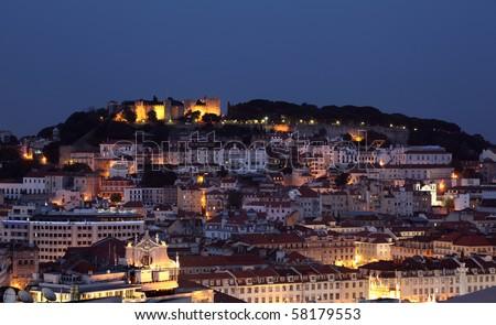 City of Lisbon lluminated at dusk, Portugal - stock photo