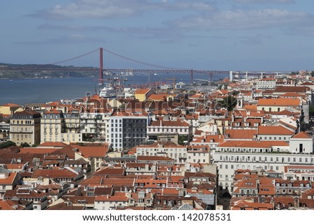 City of Lisbon, seen from the old castle St. George - stock photo