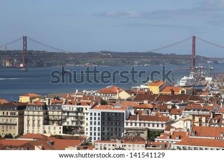 City of Lisbon, with Vasco da Gama Bridge - stock photo