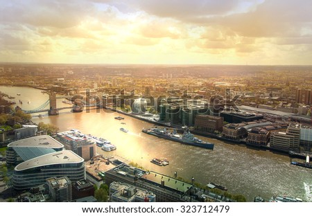 City of London aerial view, Tower bridge and and River Thames. London panorama form 32 floor of Walkie-Talkie building - stock photo